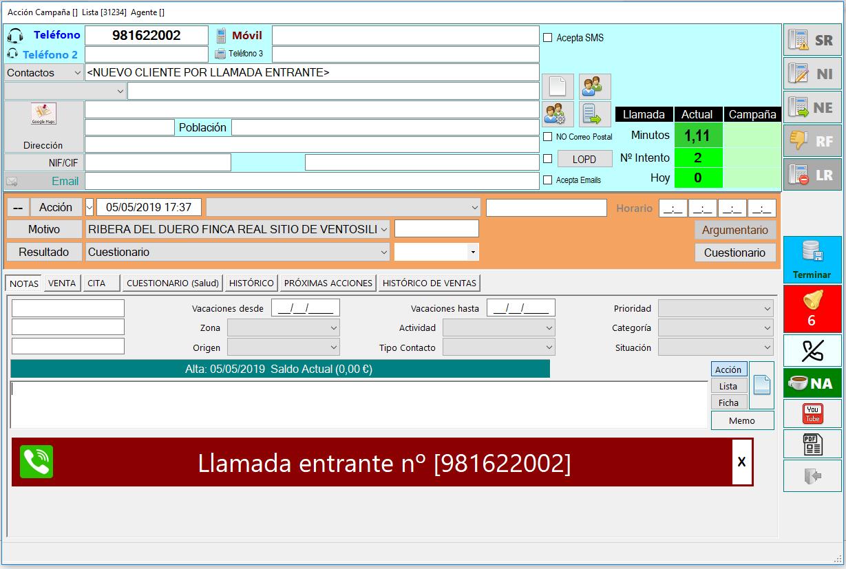 nuevo cliente citi telemarketing inbound software CRM