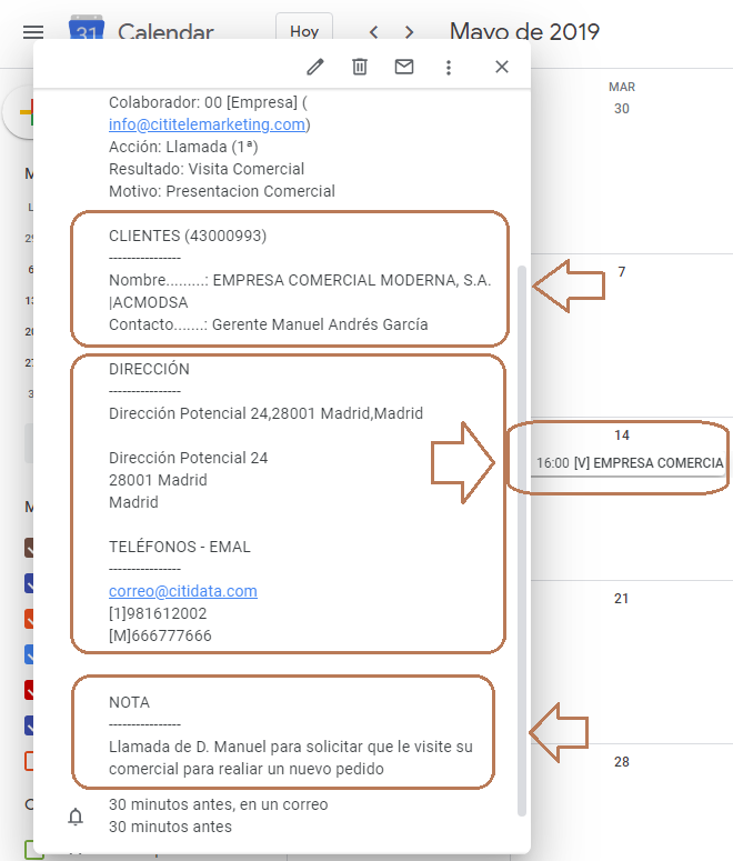 integración con google calendar citi telemarketing
